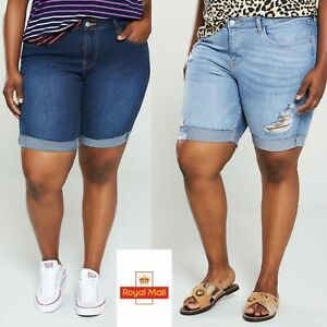 New Women's Ex Store Blue Denim Shorts Jeans Distressed Ripped Size UK 24 22 20