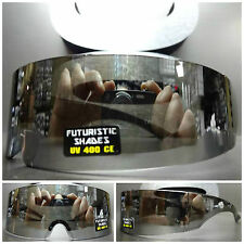 SPACE ROBOT PARTY RAVE CLUB COSTUME CYCLOPS FUTURISTIC SHIELD SUN GLASSES Chrome