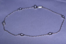 14K WHITE GOLD ANKLE BRACELET ANKLET W/ CZ STATIONS - 1.9 GRAMS - 10 1/8 INCHES