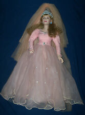 "Vtg 1988 Fairy Godmother Porcelain Doll 24"" Danbury Mint Pink Dress w/Box"