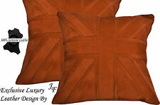2X EXCLUSIVE LUXURY GENUINE SUEDE CUSHION DESIGN UNION JACK LARGE TAN