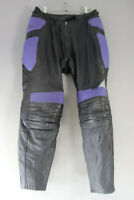 "HEIN GERICKE BLACK & PURPLE LEATHER BIKER TROUSERS + ARMOUR:WAIST 30""/I. LEG 30"""