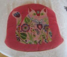 Vintage 1960'S Handmade Needlepoint Embroidery Pink Cat Chair Cushion Mod Boho