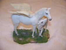 White Pegasus Flying Horse Family Figurine Greek Mythology Home Decor Statue 7in