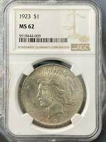 1923 US Peace Silver Dollar $1 90% NGC MS62 Collectible Coin #5918444-009