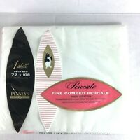 NEW Vintage Twin Flat Sheet White 100% Cotton 72 x 108 Percale Penney's Pencale