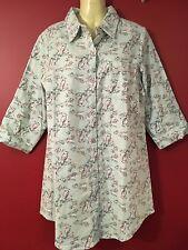 YAWN Women's Mint Bird Print Flannel Sleep Shirt - Size Medium - NWT