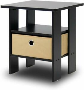 Furinno Living Room End Side Table with Drawer - Espresso Brown
