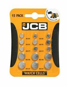 15 Piece  JCB LR41 Mixed BATTERY AG1 364 AG3 392 LR41 AG4 377 G12 LR43 G13 LR44