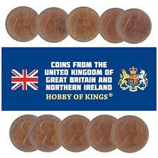 LOT OF 10 GREAT BRITAIN UK 1 PENNY COINS, QUEEN ELIZABETH II 1953 - 1970