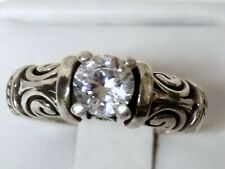 WHITE SAPPHIRE RING SIZE 6.5 ANTIQUE 925 STERLING SILVER VINTAGE STYLE 1CT USA