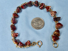 "Fashion Bracelet Genuine Jasper Chunks on Gold Tone Chain, 7.5"", 10.4 grams"