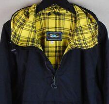 Quiksilver Black Pullover Light Jacket Plaid Hoodie Ski Snowboard Medium Coat