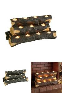 Fireplace Log Candle Holder Faux Rustic Wood Decor Home Indoor Use 10 Inx24 In