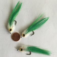 Saltwater Kinky Muddler Bright Green Fishing Fly ~ Size 2 ~ Three (3) Flies