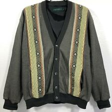 Tundra Mens 3D Textured 5-Button Grandpa Cardigan Sweater Large Cosby Geometric