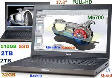 (3D-Design 17.3 FHD) DELL M6700 i7-QUAD (512GB-SSD+2TB+2TB 32GB) NV-K4000M 4GB