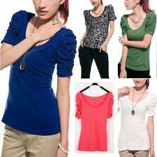 Cotton Blend Short Sleeve Petite Tops & Blouses for Women