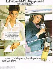 PUBLICITE ADVERTISING 075  1977  MOLYNEUX  eau de parfum QUARTZ