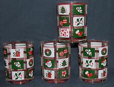 """VTG Culver Colorful Christmas Theme in Bright Squares Heavy 4-1/8"""" Tumblers NEW"""