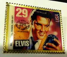 ELVIS PRESLEY 29 Cent Stamp LAPEL PIN Badge GOLD TONE Collectible THE KING RARE