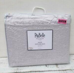 PiuBelle Portugal FARMHOUSE Cottage RUFFLE GRAY MATELASSE Cotton QUEEN COVERLET