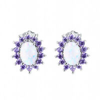 Flower Multi Color White fire Opal Purple Amethyst Gem Silver Stud Hook Earrings