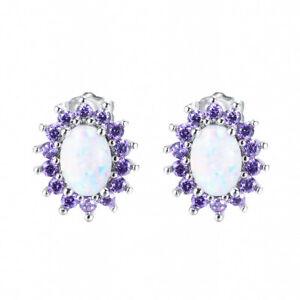Flower Multi Color White fire Opal Purple Amethyst Gem Silver Stud Hook Earrings