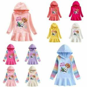 Girls Cotton Paw Patrol Print Hoodies Dress Chase Spring Hooded Tutu Dress &
