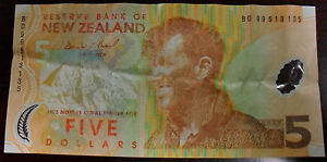 1999 Reserve Bank of New Zealand 5 Five Dollar Note Pick #185a