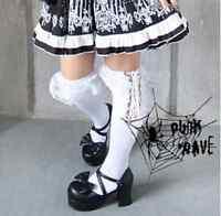 New Punk Rave Gothic Knee Socks with Lacing White Oktoberfest S-030 AUS STOCK
