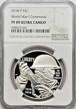 2018 P World War 1 Centennial Commemorative Silver Dollar NGC PF69