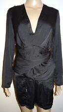 Women's Missguided Silky Long Sleeve Pannelled Shift Dress Black UK 10 Vr69 08