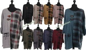 Italian Ladies Women Lagenlook Check Print Oversize Top Dress Plus Size 16-24