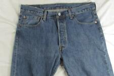 Levi 501 Button Fly Straight Leg Faded Denim Jeans Tag 34x30 Measure 34x30