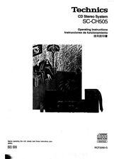 Technics SC-CH505 SE-CH505 ST-CH707 SL-CH707 SL-CH505 RS-CH505 Manual Reprint