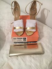 River Island Strappy Gold Heels Size 7 Worn With Box And Matching Aldo Clutch