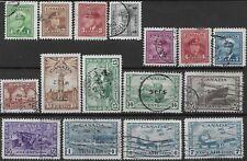 Canada 1942-48 KGVI SG 375/388 & 399/400 War Effort set of 16 | Av used |Cat £42