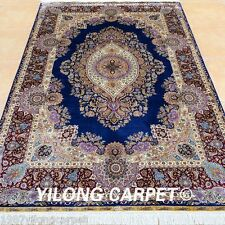 Yilong 6'x9' Purple Silk Rugs Medallion Hand Knotted Villa Luxury Carpets 0721