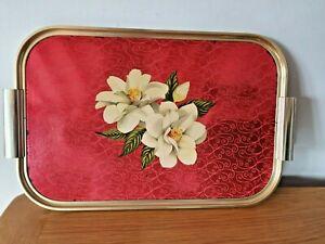 Vintage Kaymet Metal Serving Tray Decorative Flower Design Made in England