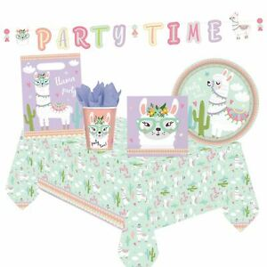 Llama Party Supplies Bundle Table Cover Plates Napkins Bags Banner Cups Birthday