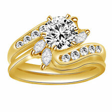 3.00Ct Round & Marquise Cut Solitaire Engagement Ring Set 14k Yellow Gold