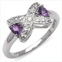 Damen Ring Justine, 925er Silber, 0,37 Kt. Amethyst/Diamant, Gr. 55