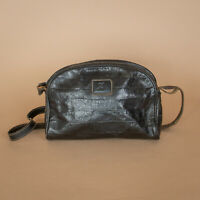 Vintage Assima Black Leather Shoulder Bag Handbag Purse Baguette Long Strap
