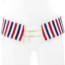 Stella Jean White Red Blue Tricolor Stripe Chain Fastening Hip Belt IT44 UK12
