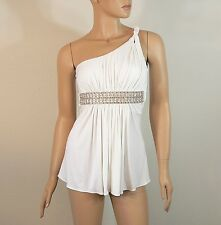 Sky Brand White One Shoulder Grecian Top with Crystal Belt Small