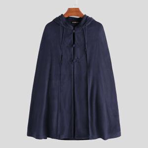 UK Mens Fleece Poncho Cape Coat Long Cardigan Jacket Cloak Overcoat Warm Outwear