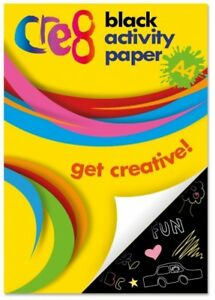 A4 KIDS CREATE BLACK COLOUR PAPER PAD 60 SHEETS DRAWING ART CRAFT HALLOWEEN