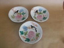 """3 Antique Chinese Footed Pottery Bowls (flat), Hand painted Bird Flowers, 6"""" D"""