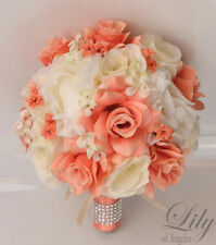 17 Piece Package Silk Flower Wedding Bridal Bouquet Posy Decoration Coral Ivory